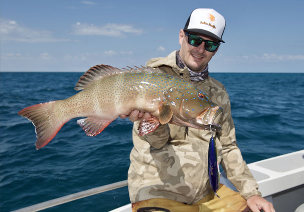 Coral trout were a common catch at the Mackerel Islands. Steve Hart is the angler.